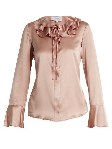 LUISA BECCARIA blouse silk satin pink top