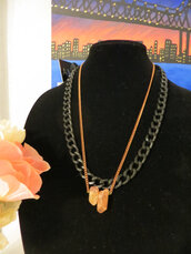 jewels,copper necklace,etsy,crystal quartz,chain jewelry,statement necklace,quartz,layering chains,layering necklace