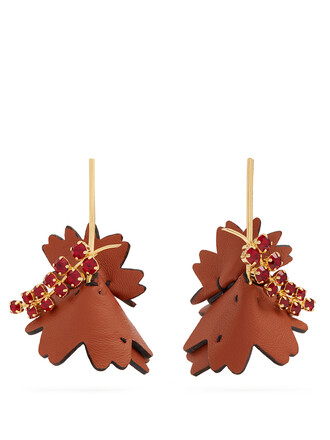 embellished earrings leather tan jewels