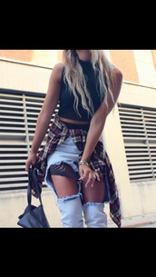 jeans,fisnet,ripped jeans,boyfriend jeans,flannel shirt,pants,denim,plaid,flannel,crop tops,top,bag,mesh denim pants,mesh,acid wash,ripped pants,torn pants,style,dope,shirt,outfit,ootd,light washed denim