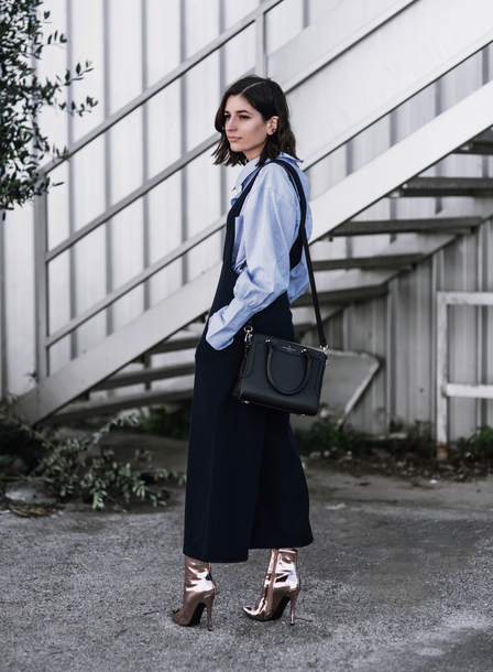 aria di bari blogger jumpsuit shirt shoes bag boots black bag blue shirt blue jumpsuit
