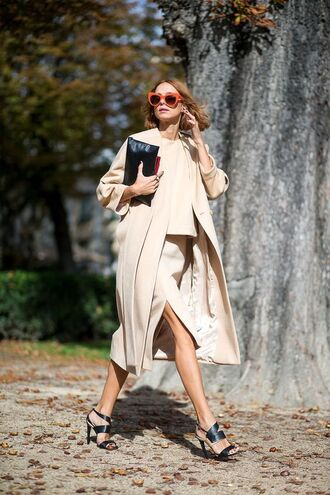 coat all beige everything beige coat sweater beige sweater beige skirt skirt sandals sandal heels high heel sandals bag pouch sunglasses cat eye slit skirt