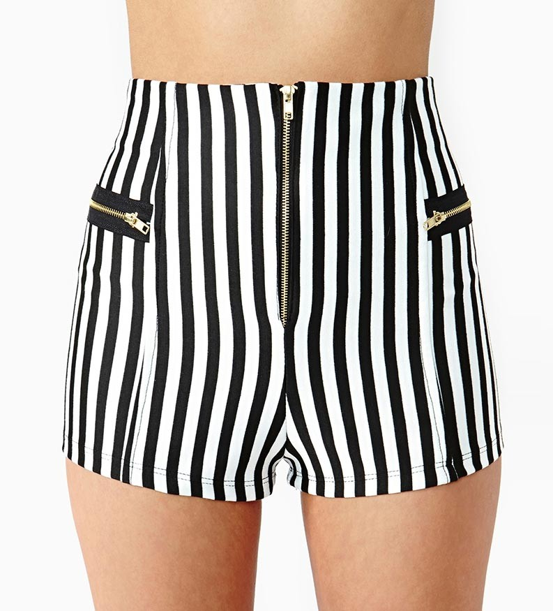 Zipper Decor Vertical Stripe Shorts @ Womens Short Shorts & Rompers,Women's Shorts,Cheap Shorts,Dress Shorts,Summer Shorts,Hight Waisted Shorts,Lace Shorts,Romper Shorts,Strapless Shorts,Romper Clothing,Girls Rompers,Casual Shorts,Jumpsuits for Women,Jersey,Leather & Denim Shorts
