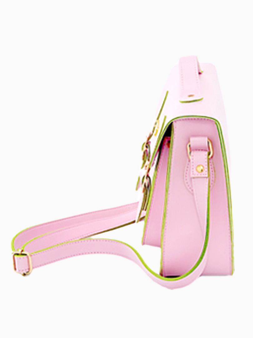 Pastel Pink Satchel Bag with Twin Pin Buckle [ABWC4055] - PersunMall.com