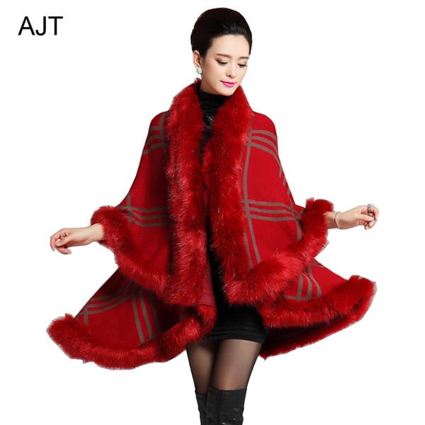 cardigan plaid cape plaid shawl shawl knitted shawl winter shawl fashion shawl faux fur cape faux fur knitted cape