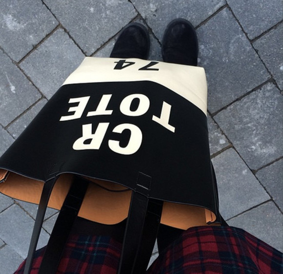 bag tote bag cr tote cr tote 74 black and white