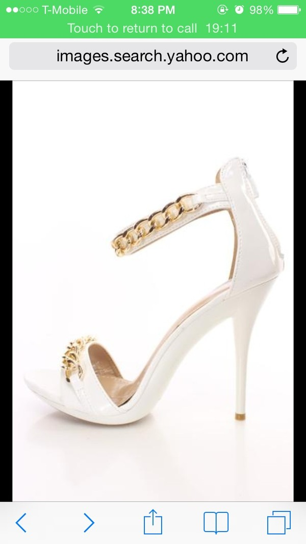 shoes white high heels white sandals gold chain white and gold sandals fashion one strap