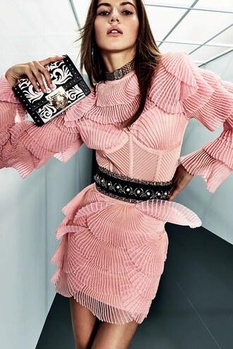 dress balmain paris fashion week 2017 belt mini dress peach