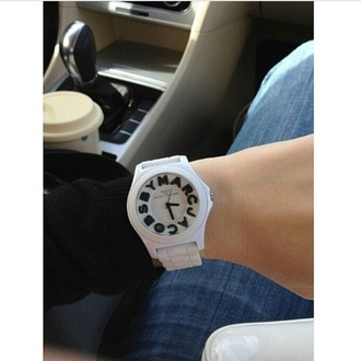 jewels white black clock watch marcjacobs