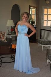 dress,prom dress,feathers,jewels,sky blue