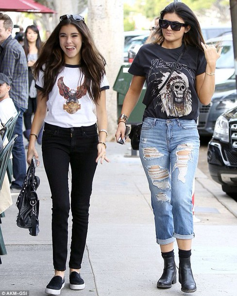 shirt: harley davidson, madison beer, kylie jenner, t-shirt, top