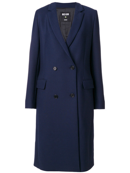 MSGM coat double breasted women spandex blue wool