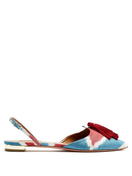 Aquazzura love flats print blue shoes