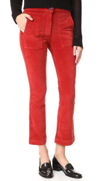 3X1 W3 Patch Bell Crop Pants - Red Henna