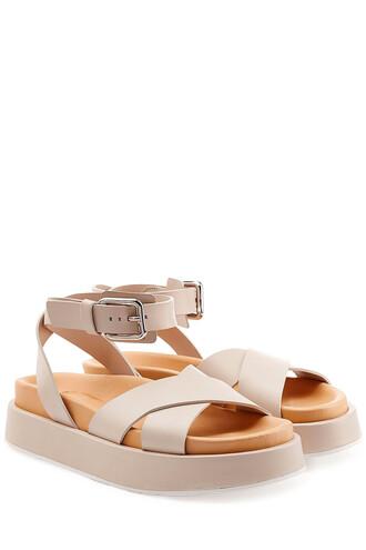 sandals platform sandals leather grey shoes