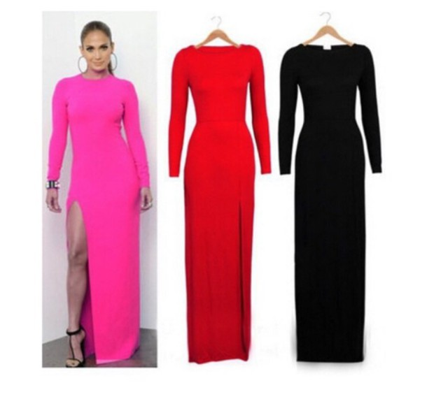 Images of Pink Long Sleeve Bodycon Dress - Reikian