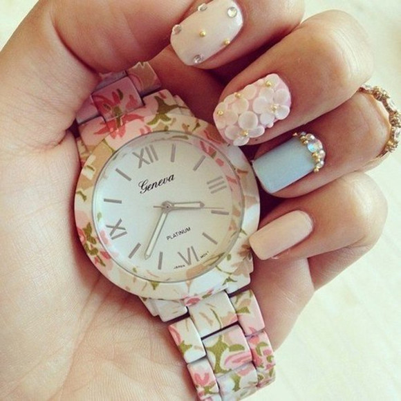 jewels clock floral geneva whatch nail accessories