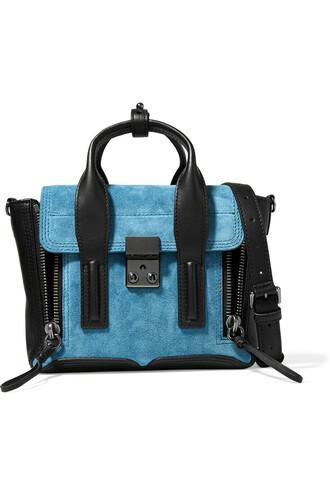 mini bag leather suede blue