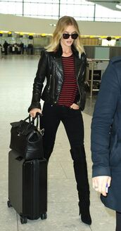 top,stripes,striped top,rosie huntington-whiteley,boots,jacket,biker jacket,fall outfits
