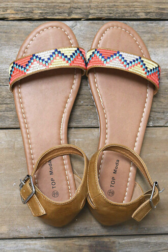 shoes detailed pattern aztec colorful tribal pattern sandals summer beach amazinglace pretty flat