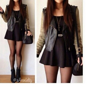 jacket skirt black tumblr boots black skirt boots black shoes hair accessory dress