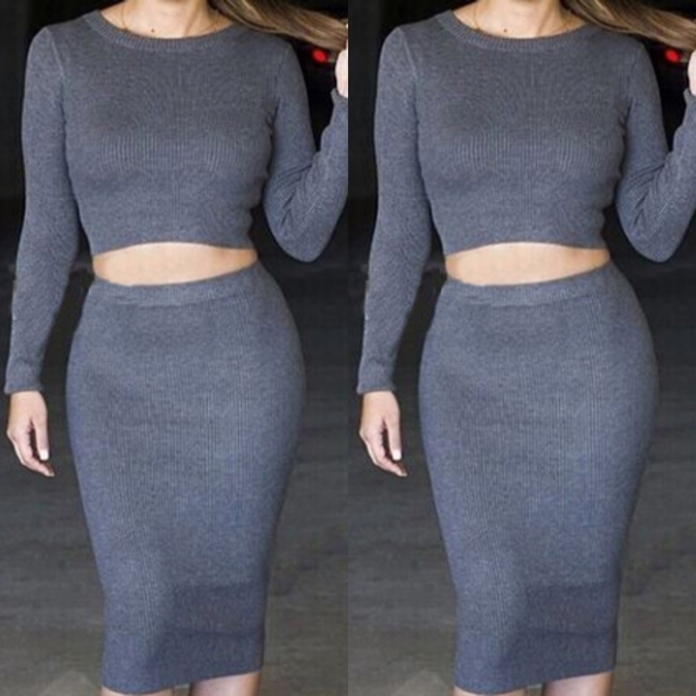 Grey ribbed bodycon skirt
