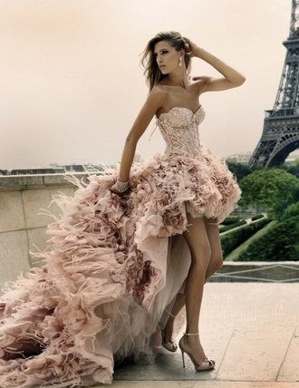 dress pink feathers sweetheart short luxuryy amazing pretty