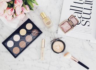 make-up highlighter tumblr makeup palette makeup brushes foundation cheek blush concealer magazine estée lauder nyx
