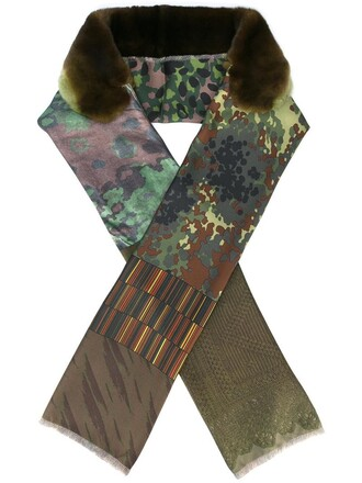 fur women camouflage scarf silk green