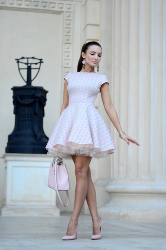 my silk fairytale blogger jewels shoes bag classy printed dress pastel dress skater dress