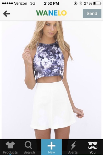skirt flower print crop top white bow skater skirt white skater skirt