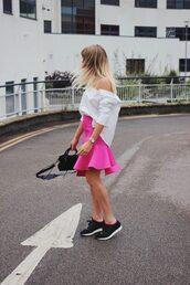 skirt,black sneakers,tumblr,mini skirt,pink skirt,shirt,white shirt,off the shoulder,off the shoulder top,sneakers,bag,shoes