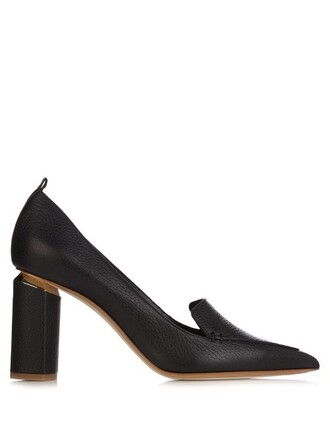 heel pumps leather black shoes