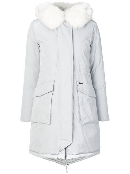 Woolrich coat parka fur fox women grey