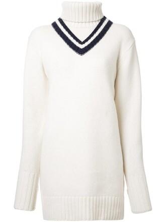 dress turtleneck dress women white wool