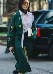 pants,tumblr,green pants,culottes,cropped pants,palazzo pants,shirt,white shirt,jacket,green jacket,cropped jacket,stars,glasses,streetstyle