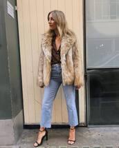 coat,faux fur coat,jeans,cropped jeans,sandals,high heel sandals,leopard print