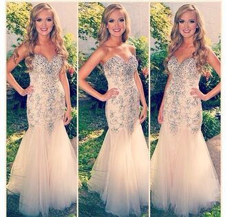 dress beige dress sequin dress sequined champagne prom dress fitted prom dress strapless