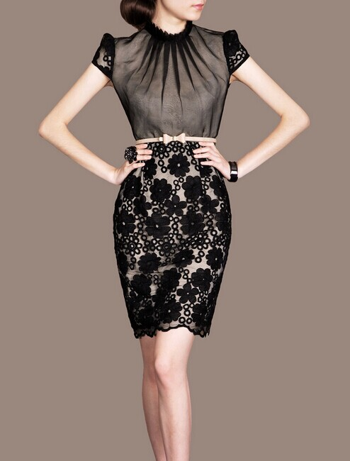 Black Lace Elegant Noble Summer OL Women Fashion Dress lml7067 - ott-123 - Global Online Shopping for Dresses