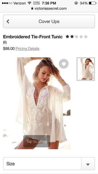 dress tunic victoria's secret boho gypsy white beach bikini