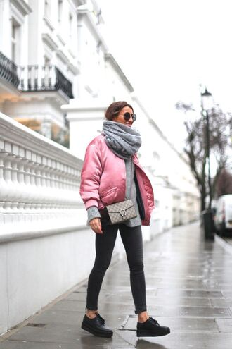bag gucci gucci bag pink jacket pink bomber jacket designer bag skinny jeans black sneakers outfit idea streetstyle mango scarf