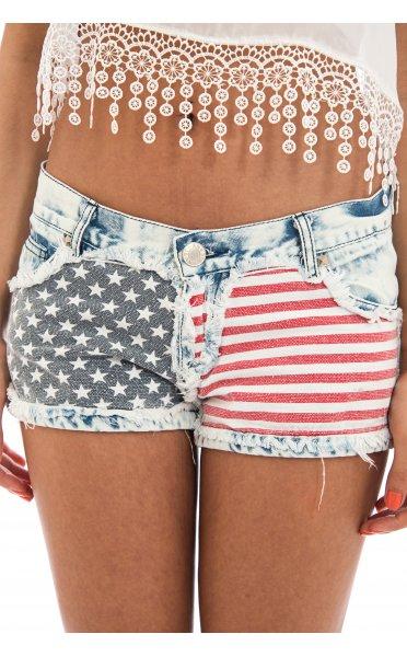 Usa frayed stars & stripes denim shorts