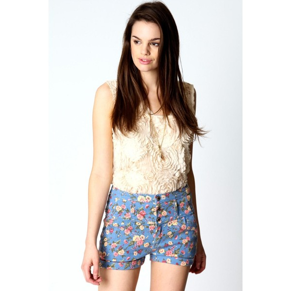 Matilda high waisted floral denim shorts