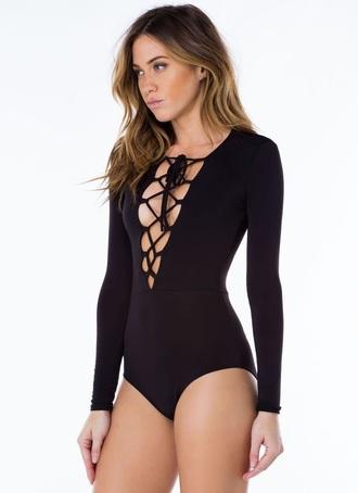 shirt black lace lace up bodysuit back lace up bodysuit
