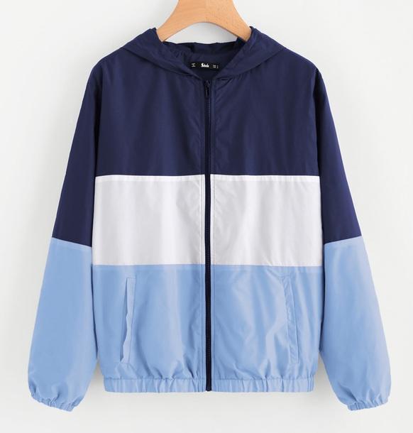 465c0b8f0 jacket girly colorblock windbreaker hoodie zip zip-up zip up jacket blue  white