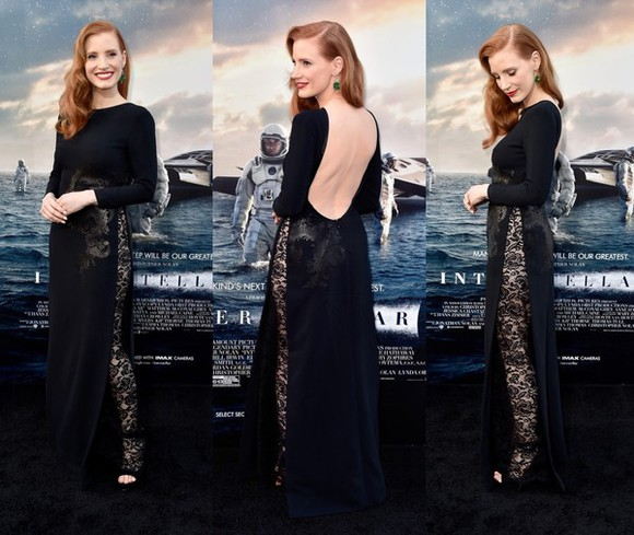 maxi dress dress prom dress black lace dress gown jessica chastain