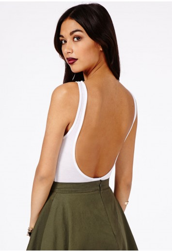 Missguided - Patsy Open Back Bodysuit In White
