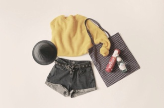 sweater yellow shorts tumblr hipster indie black high waisted shorts cropped sweater