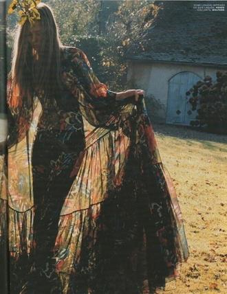 dress sheer sheer dress flower dress peasent long sleeve dress floor length dress flowery dress flowy dress