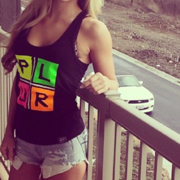 tank top fitness top black colorful orange green pink yoga shirt